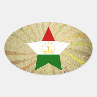 Vintage Tajik Flag Swirl Oval Sticker