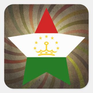 Vintage Tajik Flag Swirl Square Sticker