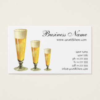 Vintage Tall Frosty Draft Beer, Alcohol Beverage Business Card