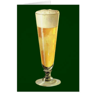 Vintage Tall Frosty Draft Beer, Alcohol Beverage Greeting Card