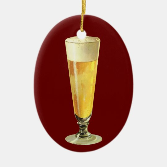 Vintage Tall Frosty Draft Beer, Alcohol Beverage Ceramic Ornament