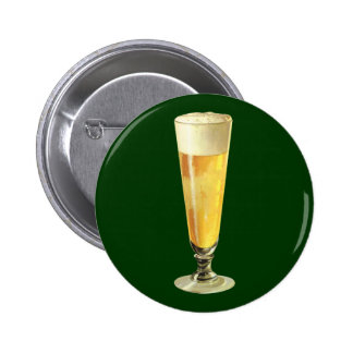 Vintage Tall Frosty Draft Beer, Alcohol Beverage Pinback Button