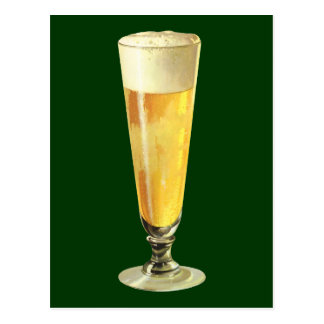 Vintage Tall Frosty Draft Beer Alcohol Beverage Postcards