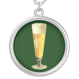 Vintage Tall Frosty Draft Beer, Alcohol Beverage Silver Plated Necklace