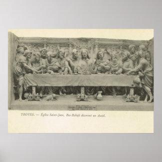 """Vintage talla del alivio de la """"última cena"""" de Fr Poster"""