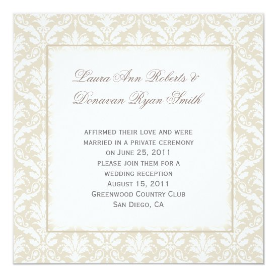 Vintage Tan and White Damask Post Wedding Invitation