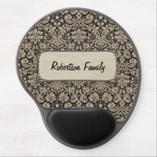 Vintage Tan Black Damasks Label Personalized Name Gel Mousepads