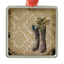 vintage tan damask western country cowboy metal ornament