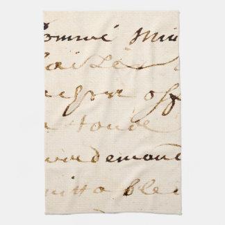 Vintage Tan French Letter Script Parchment Kitchen Towel