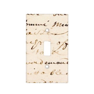 Vintage Tan French Letter Script Parchment Switch Plate Cover