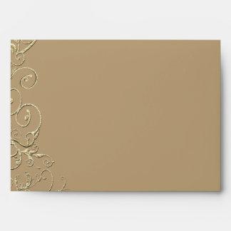 Vintage Tan Gold Swirl Wedding Envelope