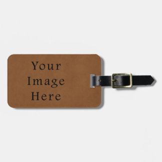 Vintage Tan Leather Brown Parchment Paper Blank Luggage Tag