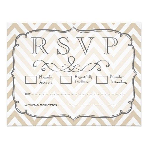 Vintage Tan & White Chevron Wedding RSVP Cards