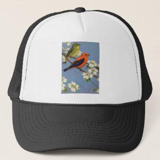 Vintage Tanager Bird Print Trucker Hat