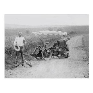 Vintage tandem 3-wheeler postcard