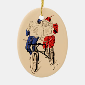 Vintage Tandem Bicycle Couple Reading Kissing Ceramic Ornament