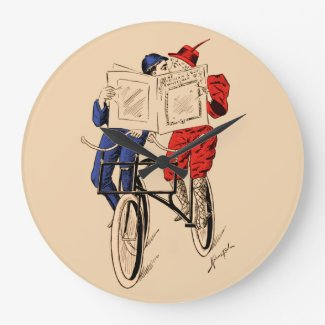Vintage Tandem Bicycle Couple Reading Kissing Wallclocks