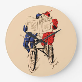 Vintage Tandem Bicycle Couple Reading Kissing Large Clock