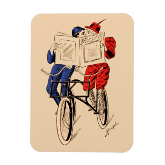 Vintage Tandem Bicycle Couple Reading Kissing Magnet