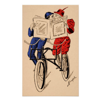 Vintage Tandem Bicycle Couple Reading Kissing Poster