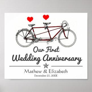Vintage Tandem Bicycle Custom Wedding Anniversary Poster