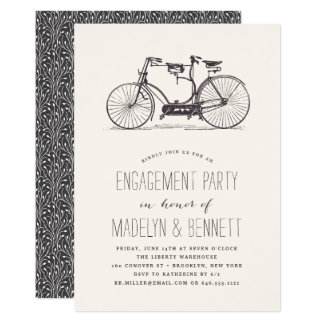 Vintage Tandem Bicycle Engagement Party Invitation
