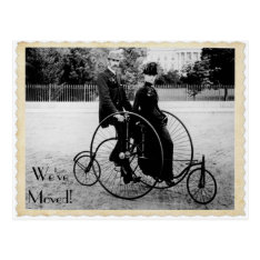 Vintage Tandem Bicycle Moving Postcard at Zazzle