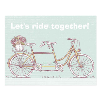 Vintage Tandem Bicycle Postcard