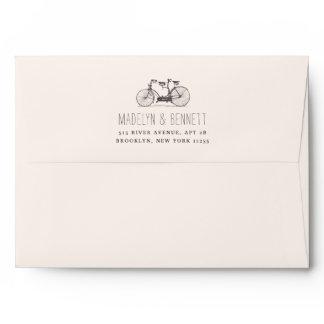 Vintage Tandem Bicycle Return Address Envelope