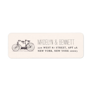 Vintage Tandem Bicycle Return Address Label