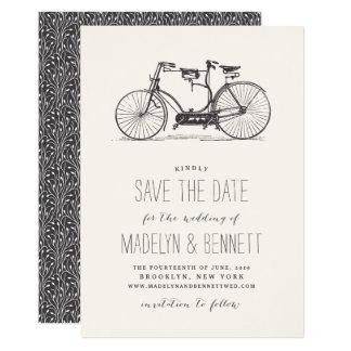 Vintage Tandem Bicycle Save the Date Card