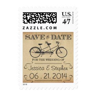 Vintage Tandem Bicycle Save the Date Postage