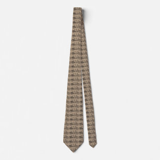 Vintage Tandem Bicycle Taupe Neck Tie