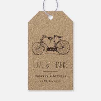 Vintage Tandem Bicycle Wedding Favor Thank You Gift Tags