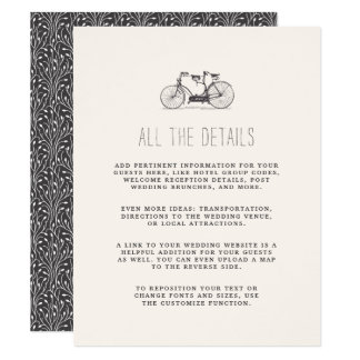 Vintage Tandem Bicycle Wedding Guest Details Card