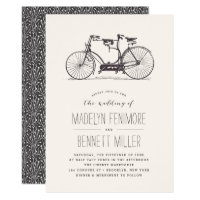 Vintage Tandem Bicycle Wedding Invitation