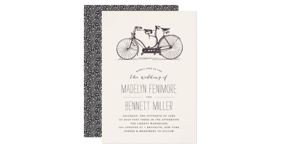 Tandem Bike Wedding Invitations: Vintage Tandem Bicycle Wedding Invitation