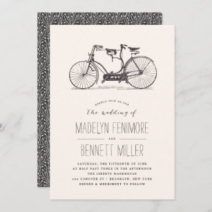 Wedding Congratulations Original Calligraphy Brush Lettering Blue Double Bike Watercolor A2 Card Wedding Tandem Bicycle Card