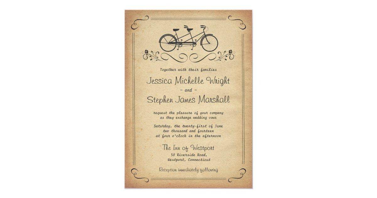 Tandem Bicycle Wedding Invitations - Bicycle Sierramichelsslettvet