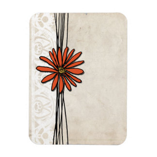 Vintage Tangerine Orange Daisy Rectangular Photo Magnet