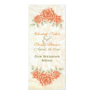 Vintage tangerine orange roses wedding Menu card