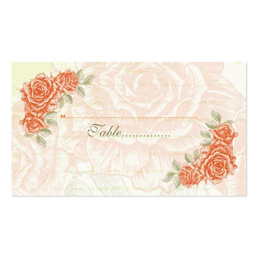 Vintage tangerine orange roses wedding place card Double-Sided standard business cards (Pack of 100)