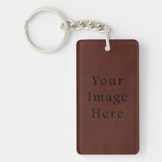 Vintage Tanned Brown Mahogany Leather Parchment Keychain