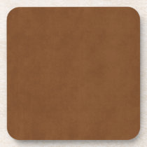 Vintage Tanned Leather Brown Parchment Template Beverage Coaster