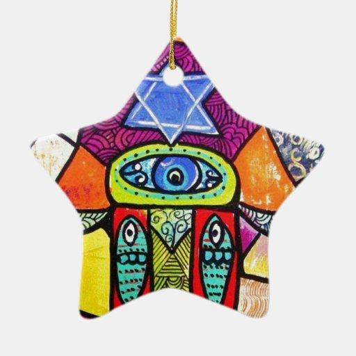 Vintage Tapastry Hamsa Double-Sided Star Ceramic Christmas Ornament