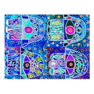 Vintage Tapastry Judaica de Hamsa de cuatro azules Postales