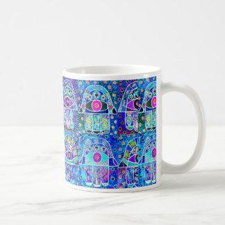 Vintage Tapastry Judaica de Hamsa de cuatro azules Taza De Café