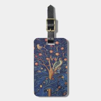Vintage Tapestry Birds Floral Design Woodpecker Bag Tag