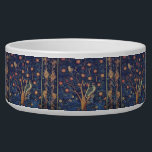 """Vintage Tapestry Birds Floral Design Woodpecker Bowl<br><div class=""""desc"""">This vintage tapestry is based on the William Morris 1888 Woodpecker tapestry. The woodpecker tapestry is deep blue with hints of antique decorator colors. The woodpecker birds sit in an orange tree, with great blue Acanthus leaves surrounding the orange tree at the bottom. This is a classic antique tapestry created...</div>"""