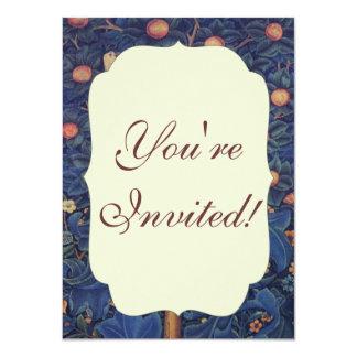 Vintage Tapestry Birds Floral Design Woodpecker 4.5x6.25 Paper Invitation Card